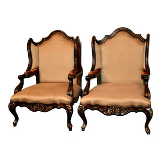 Schnadig Compositions Oversized Tuscan Style Carved Wing Chairs - a Pair For Sale