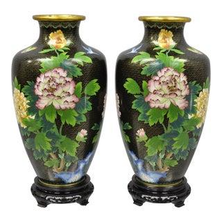 Late 20th Century Vintage Japanese Brass Meiji Cloisonne Vase- A Pair For Sale