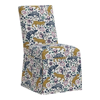 Slipcover Dining Chair in Leopard Mustard Plum For Sale