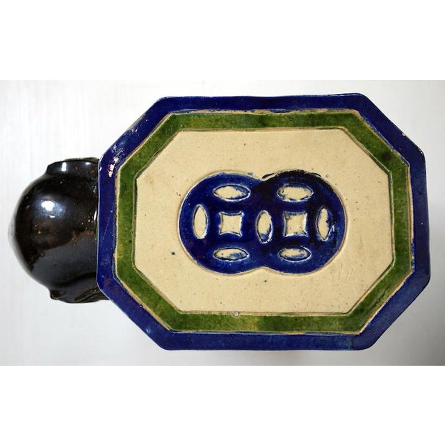 Asian Vintage Black Ceramic Elephant Table For Sale - Image 3 of 3