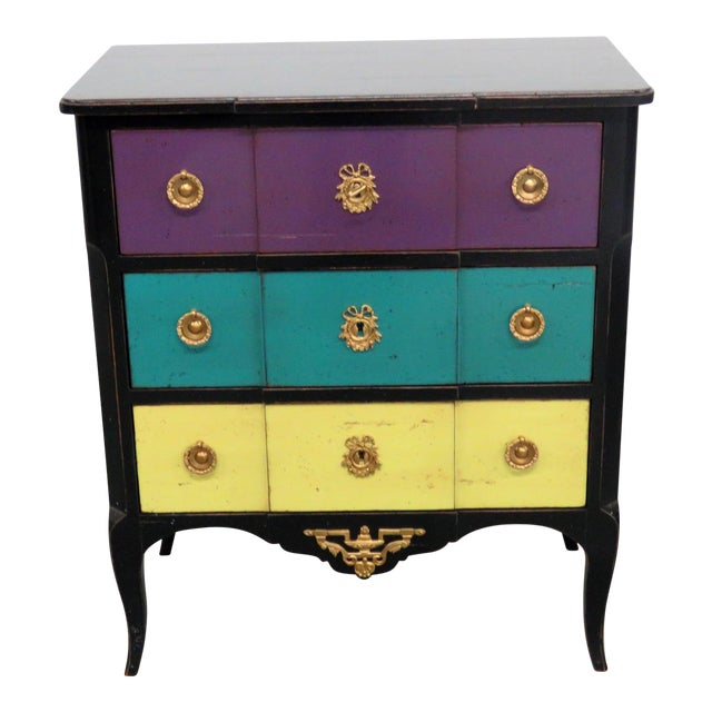 Roche Bobois Paint Decorated Commode For Sale