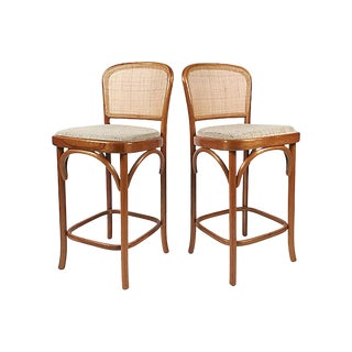 Bentwood and Cane Bar Stools, Pair For Sale
