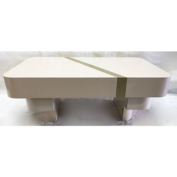 1970s Beige Mica & Gold Stripe Coffee Table - Image 2 of 5