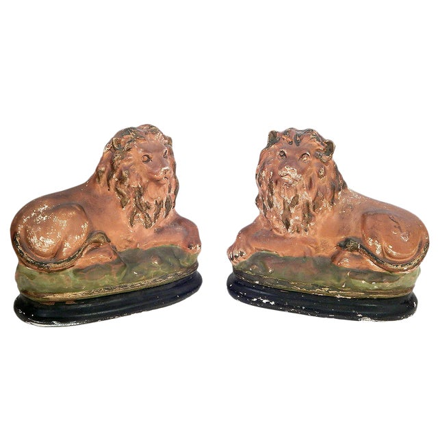 Pair of Painted Chalkware Lions For Sale