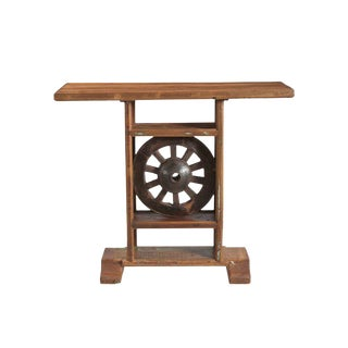 Wooden Wheel Small Console Table