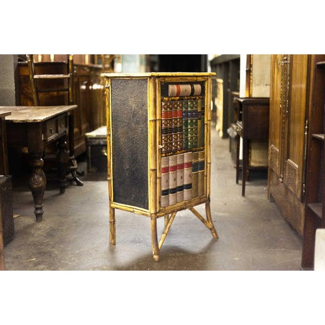 English Late 19th Century Bamboo Cabinet with Faux Book Front Door For Sale - Image 3 of 6