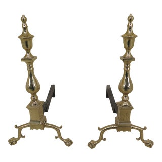 Virginia Metal Crafters Colonial Williamsburg Brass Andirons - a Pair For Sale