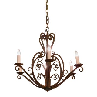 1950s French Country Wrought Iron 6 Arm Chandelier For Sale