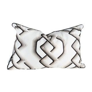 Contemporary Interlocking Bronze, Black, Creme Silk Cotton Pillow - 16 X 24 For Sale