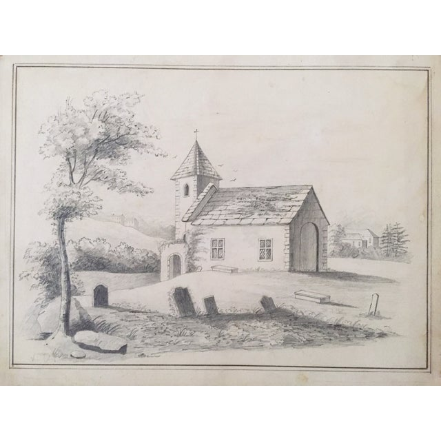 19th C. French Drawing of a Church - Image 3 of 3