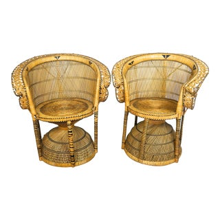 1970s Bohemian Peacock Rattan Chairs - A Pair