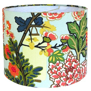 Custom Aqua Floral Lantern Drum Lamp Shade For Sale