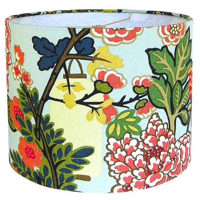 Custom Aqua Floral Lantern Drum Lamp Shade For Sale