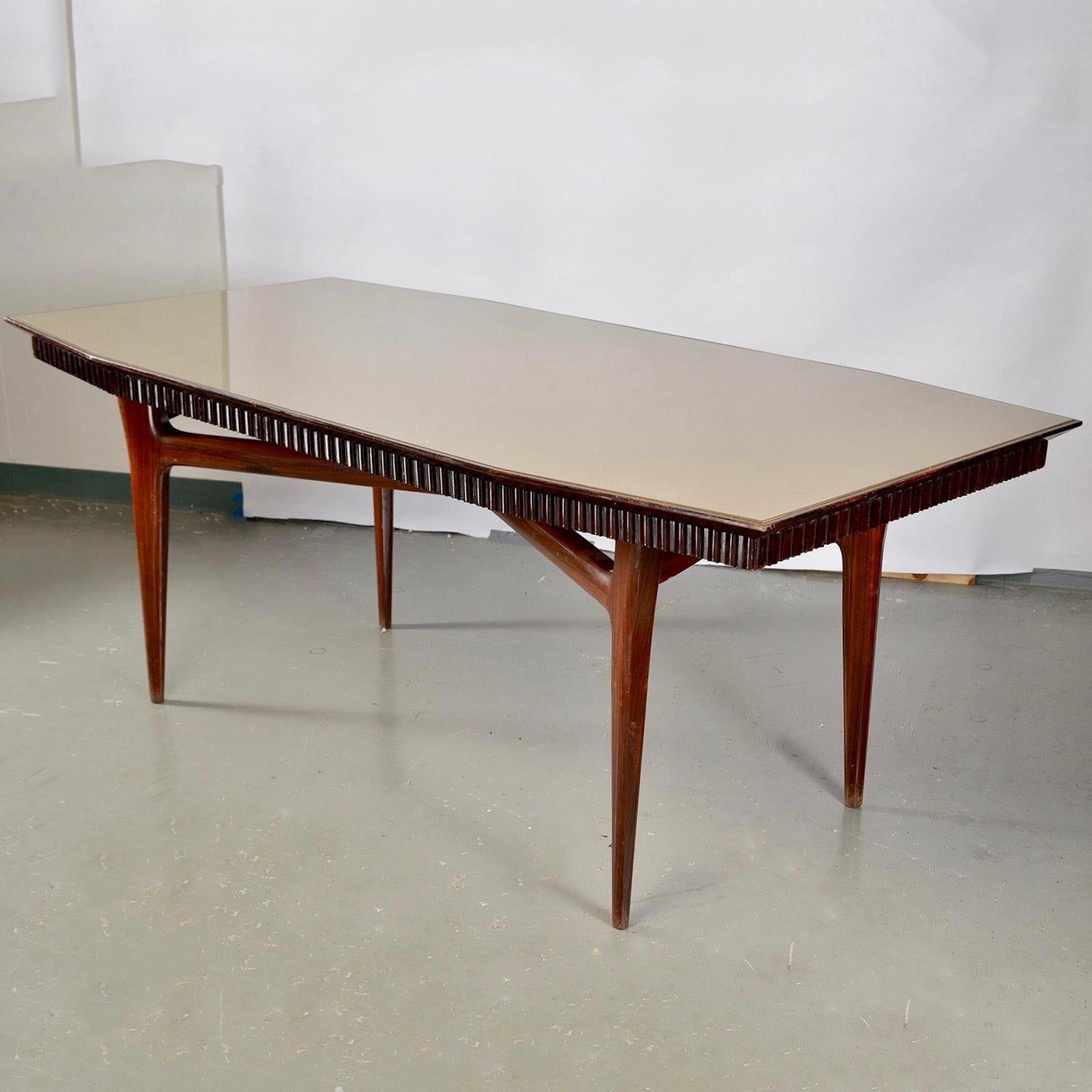 Italian Mid Century Italian Dining Table With Green Glass Top And Fluted  Edge For Sale