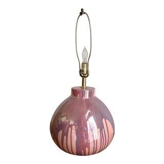 Vintage Mid Century Modern Drip Glaze Table Lamp For Sale