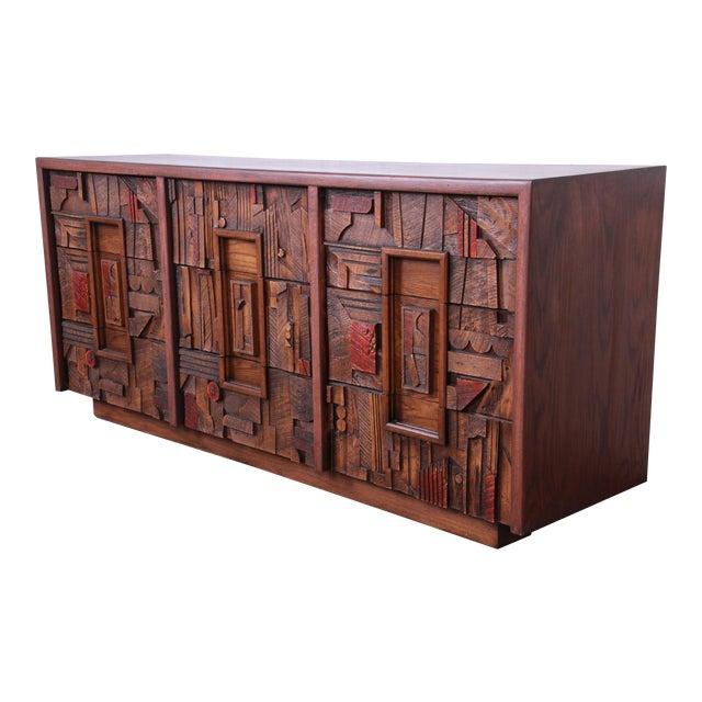 Lane Pueblo Brutalist Mid-Century Modern Oak Long Dresser or Credenza, 1970s For Sale