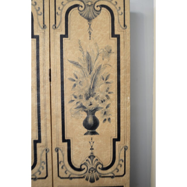 Traditional 19th Century Para-Vent, Screnn, Hand Painted Floral Designs on Parchment Paper, Navy Blue and Beige. For Sale - Image 3 of 10