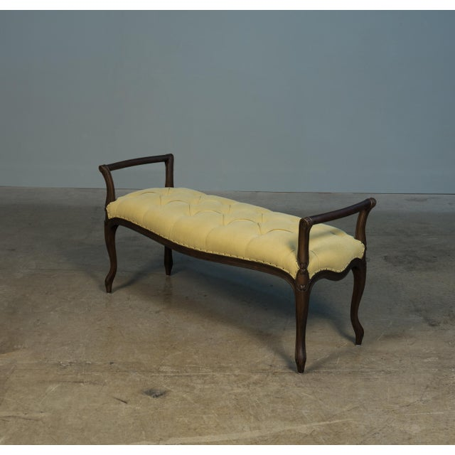 Shabby Chic Laurie Olive Green Upholstered Beech Bench For Sale - Image 3 of 5
