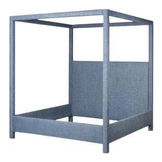Marin Upholstered Bed, Linen, Navy Blue, Full For Sale