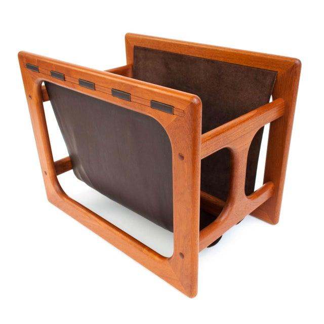 Brown Danish Modern Salin Møbler Teak and Leather Magazine Rack For Sale - Image 8 of 9