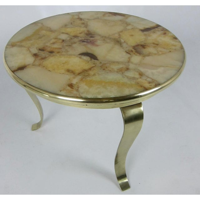 Mid-Century Modern Bronze Side Table with Onyx Top by Muller For Sale - Image 3 of 4
