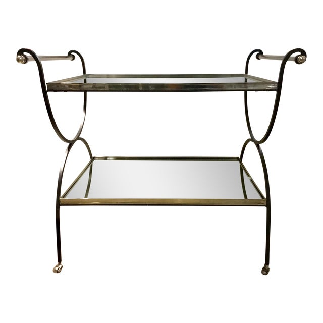 Hollywood Regency Cyan Design Iron and Mirror Bar Cart For Sale