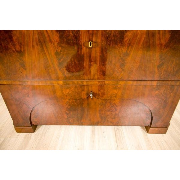 19th-Century Biedermeier Secretary Desk Veneered with Mahogany For Sale - Image 10 of 11