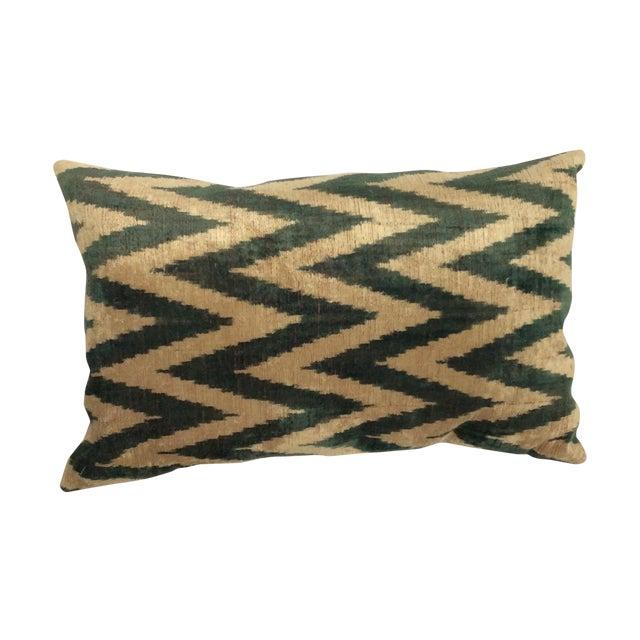 Green Silk And Velvet Ikat PIllow - Image 1 of 5