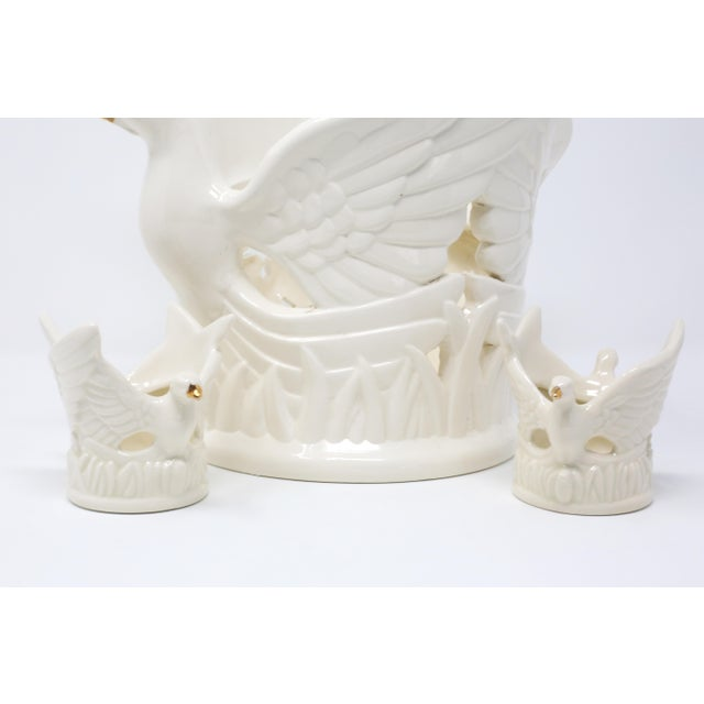 1990s Ceramic Flying Doves Candle Holders - Set of 3 For Sale - Image 5 of 12