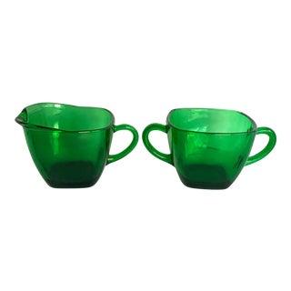 Vintage Green Glass Creamer and Sugar Bowl Set For Sale