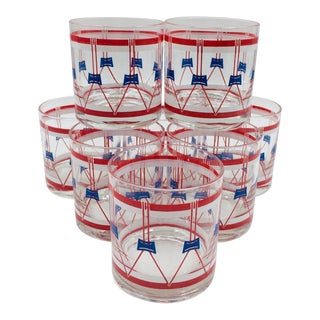 Red White and Blue Drum Rocks Glasses by Federal Glass Co With Original Box - Set of 8 For Sale