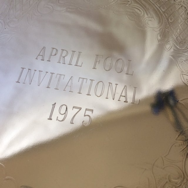 1975 Engraved April Fools Invitational Silver Plate Tray For Sale In Sacramento - Image 6 of 11