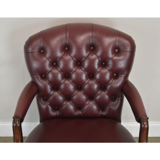 Leather Oxblood Red Leather Tufted Chesterfield Style Executive Office Desk Chair (E) For Sale - Image 7 of 13