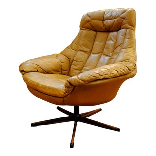 Danish Leather Swivel Silhouette Lounge Chair by h.w. Klein for Bramin