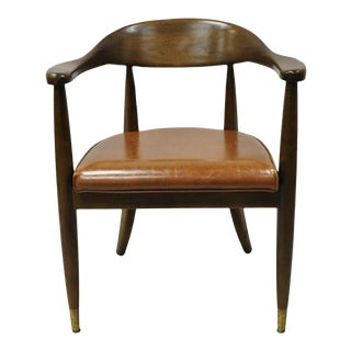 Vintage Boling Mid Century Modern Solid Walnut Office Library Arm Chair For Sale