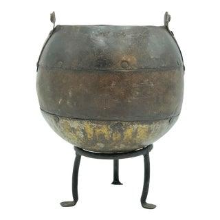 Vintage Decorative Metal Pot For Sale
