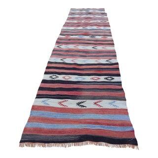 Striped Turkish Oushak Kilim Runner Rug 2′12″ × 10′10″ For Sale