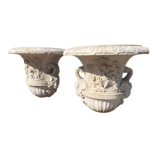 1990s Vintage Italian Marble Urns Entrance Decor Planters- A Pair For Sale