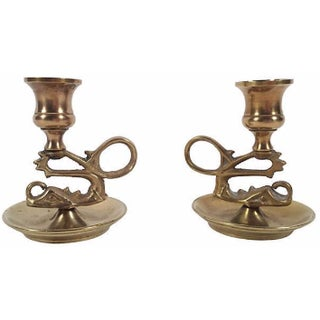 Serpentine Candleholders - A Pair For Sale