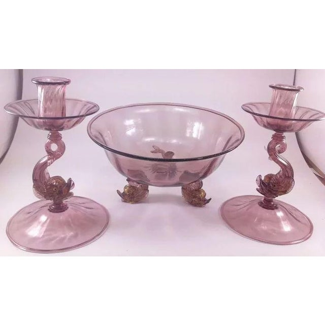 This lovely and delicate Venetian glass console set by Antonia Salviati consists of two candle holders and one compote,...