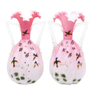 1900s Victorian Pink Hand Blown Glass Vases - a Pair For Sale