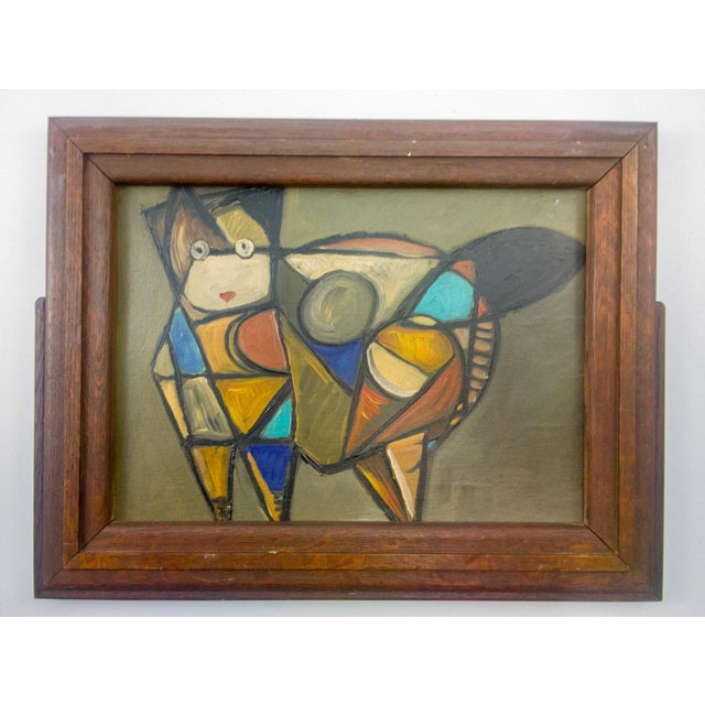 Cubist Cat Oil Painting in Frame For Sale In Atlanta - Image 6 of 6