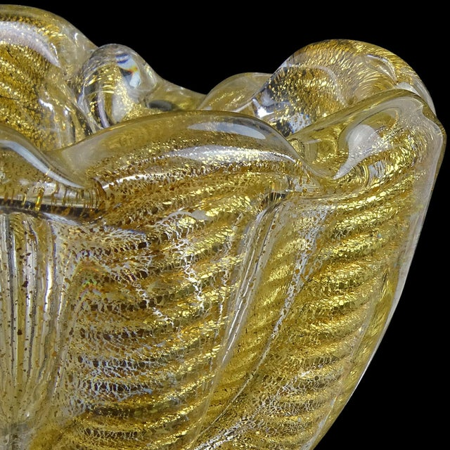 Mid 20th Century Barovier Toso Murano Vintage Gold Flecks Italian Art Glass Mid Century Heart Shaped Bowl Dish For Sale - Image 5 of 8