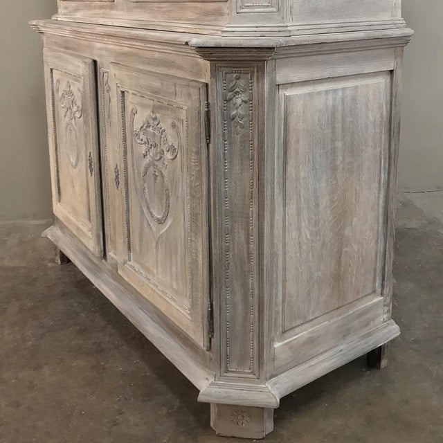 Brown 19th Century Country French Louis XVI Stripped Buffet a Deux Corps For Sale - Image 8 of 13