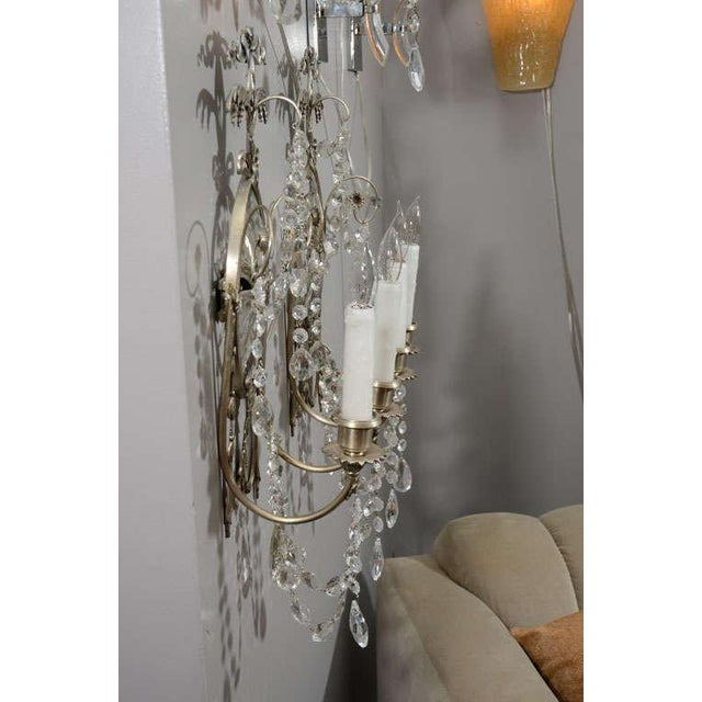 Pair of 19th Century Silver Leaf and Crystal Sconces For Sale - Image 4 of 8