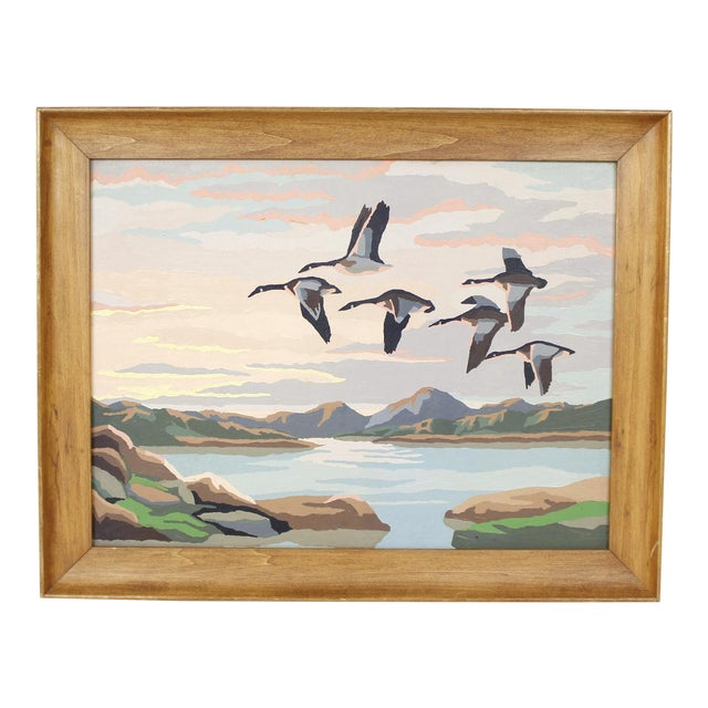 Vintage Paint By Numbers Painting Geese Lake Mountains Mid Century