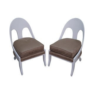 Vintage White Hollywood Regency Lounge Chairs - 2 For Sale