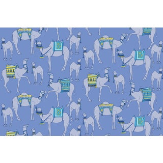 Camels Palace Blue Linen Cotton Fabric, 3 Yards For Sale