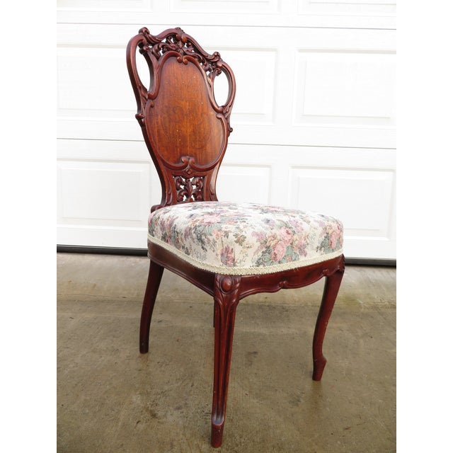 Late 19th Century Antique French Carved Mahogany Art Nouveau Side Chair For Sale - Image 13 of 13