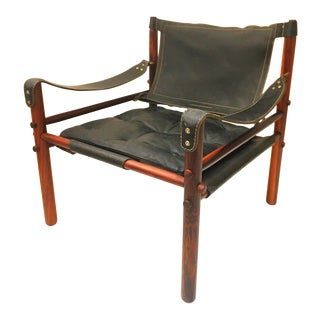 Arne Norell Black Leather and Rosewood Safari Sirocco Chair, Sweden, 1960s-1970s